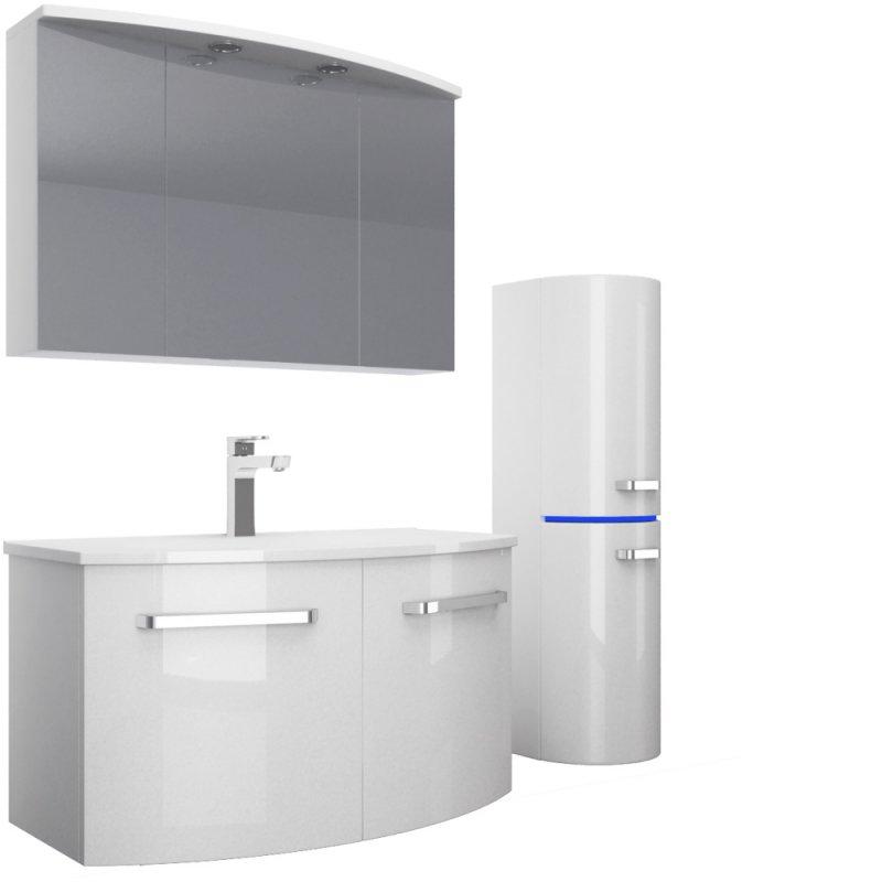 Das Badmöbel Set Atlantis 90 cm Hochglanz Weiß | Homeline1 der Möbel ...