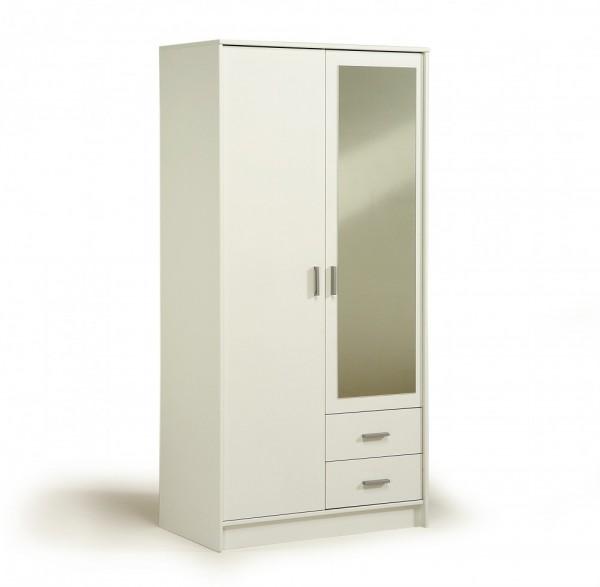 Parisot Infinity - Kleiderschrank 2türig mit Spiegel 180x90 cm, Dekor Weiß