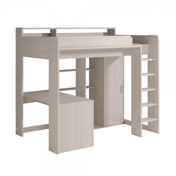 Parisot Higher 1A - Hochbett mit integr. Schreibtisch & Kleiderschrank 90 x 200 cm