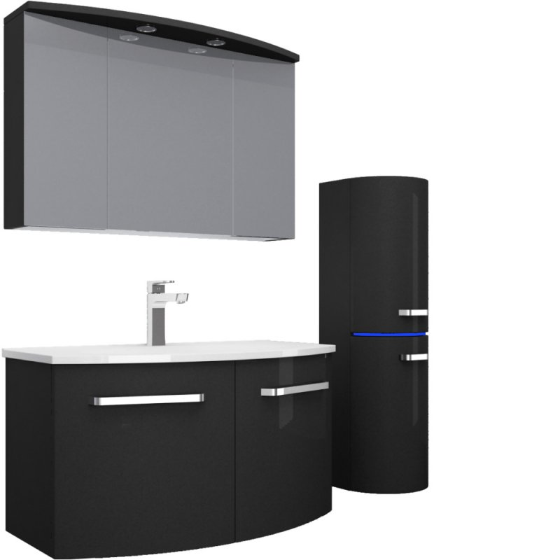 das badm belset atlantis in 90 cm schwarz hochglanz homeline1 der m bel onlineshop f r. Black Bedroom Furniture Sets. Home Design Ideas