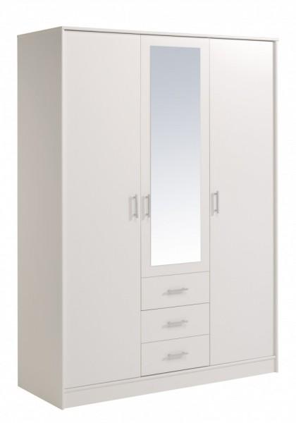 Parisot Infinity - Kleiderschrank 3türig mit Spiegel 202x148 cm, Dekor Weiß