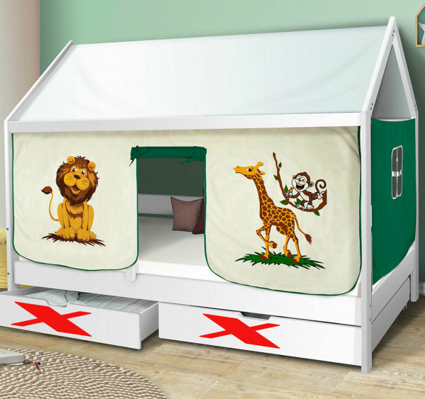 Hausbett Safari Kinderbett Massiv Hochbett Spielbett Jugendbett 90x200