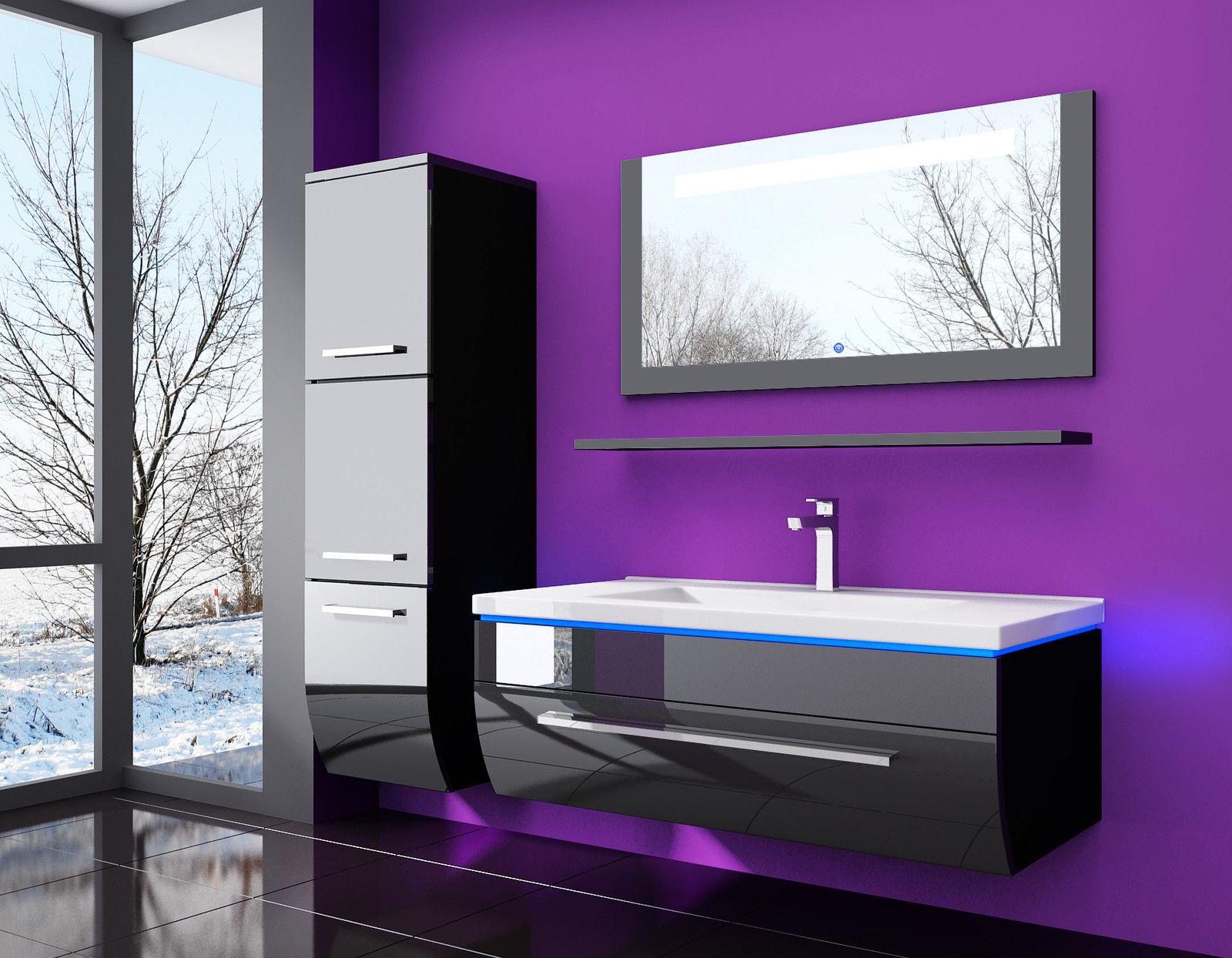 5 teiliges badezimmer m bel set g nstig online kaufen 60 cm schwarz hochglanz lakiert. Black Bedroom Furniture Sets. Home Design Ideas
