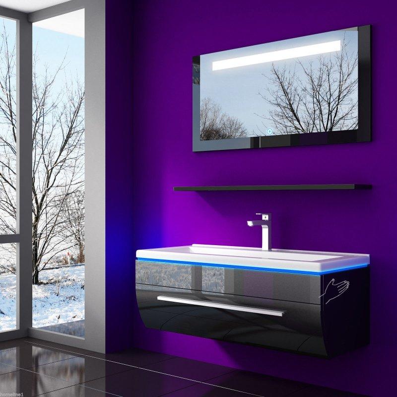badezimmer m bel set 4teilig 70 cm schwarz vormontiert. Black Bedroom Furniture Sets. Home Design Ideas