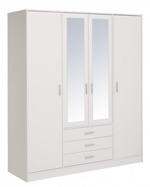 Parisot Infinity - Kleiderschrank 4türig mit Spiegel 202x176 cm, Dekor Weiß